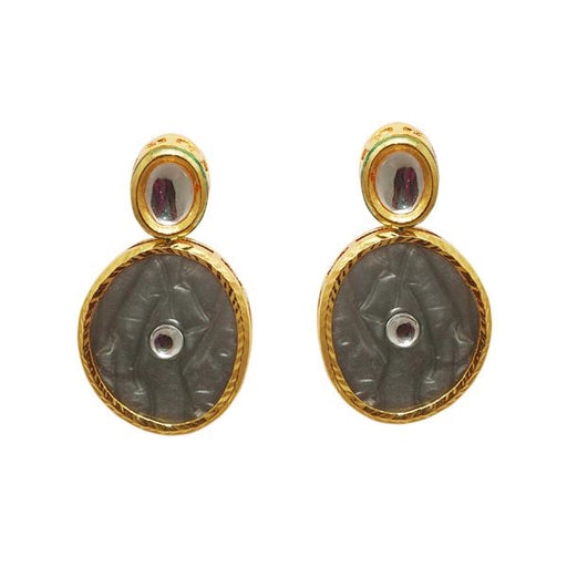 Kriaa Kundan Resin Gold Plated Dangler Earrings