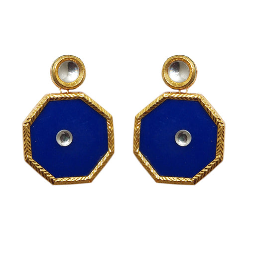 Kriaa Kundan Blue Resin Gold Plated Dangler Earrings