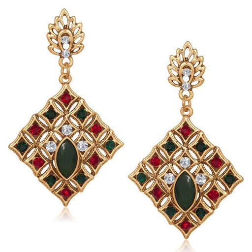 The99Jewel Red Stone Dangle Earrings