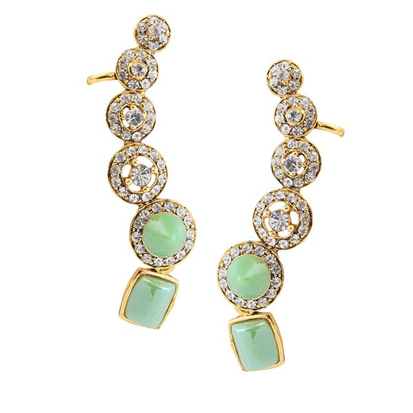 Kriaa Austrian Stone Green Gold Plated  Ear Cuff