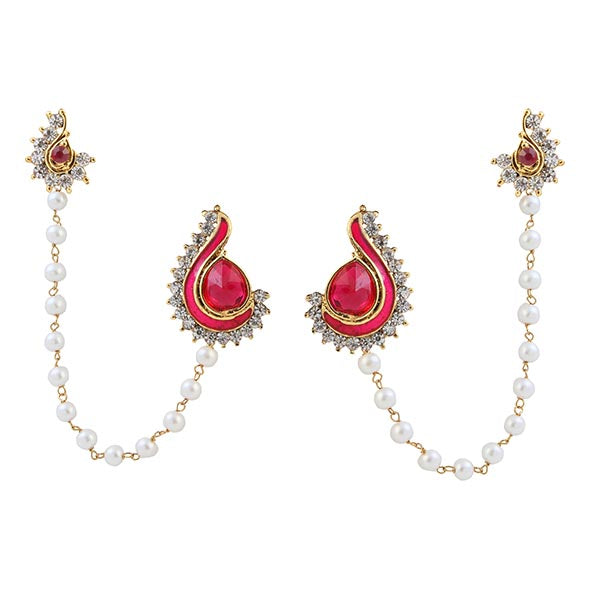 Kriaa Pink Meenakari Pearl Chain Ear Cuff Earrings