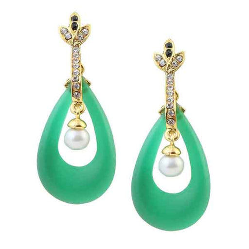 Kriaa Austrian Stone  Gold Plated Green Resin Dangler Earrings