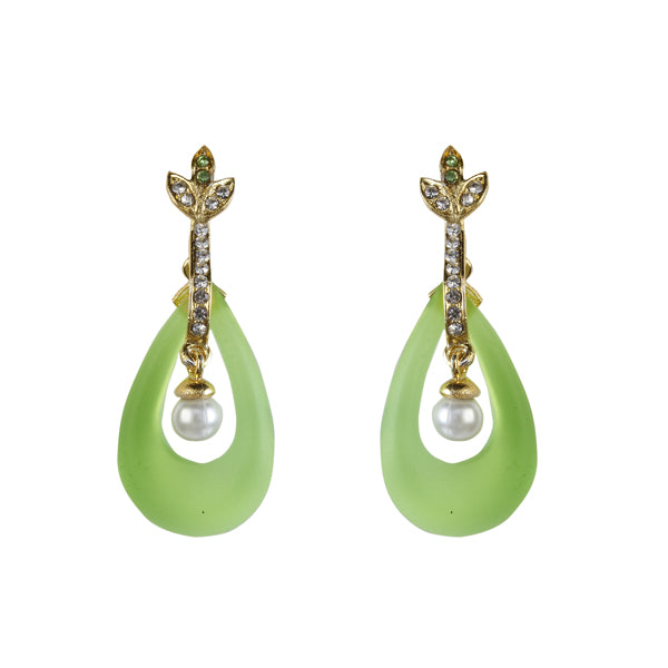 Kriaa Austrian Stone Green Resin Gold Plated Dangler Earrings
