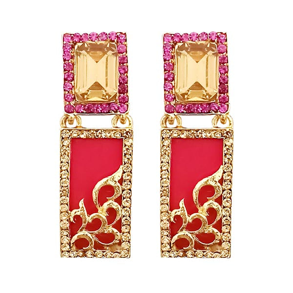"""Kriaa pink Austrian Stone Gold Plated Dangler Earrings """