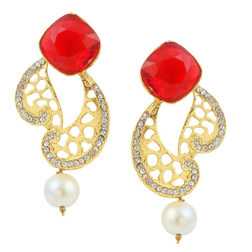Kriaa Red Stone Gold Plated Dangler Earrings