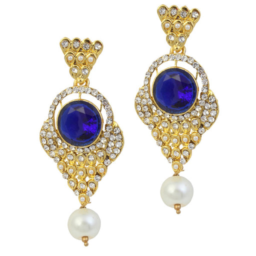 Kriaa Gold Plated Blue Stone Pearl Dangler Earrings