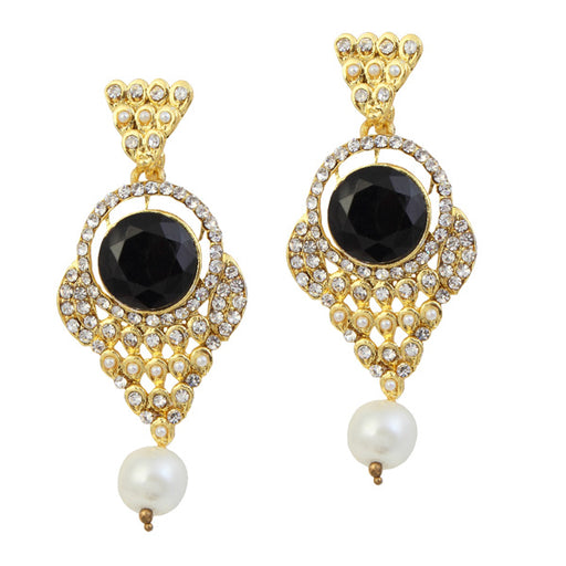 Kriaa Gold Plated Black Stone Pearl Dangler Earrings