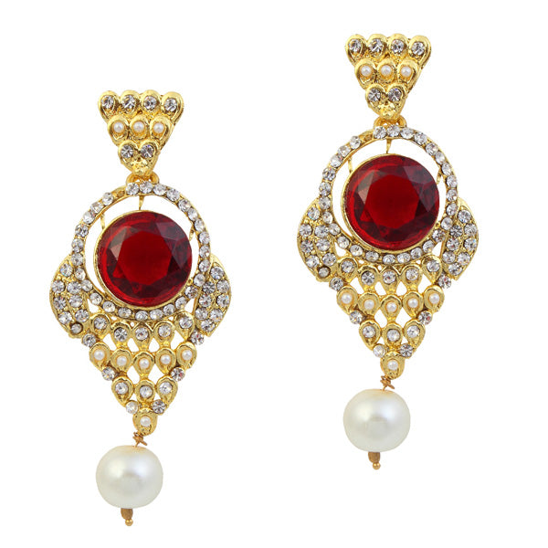 Kriaa Maroon Stone Pearl Gold Plated Dangler Earrings