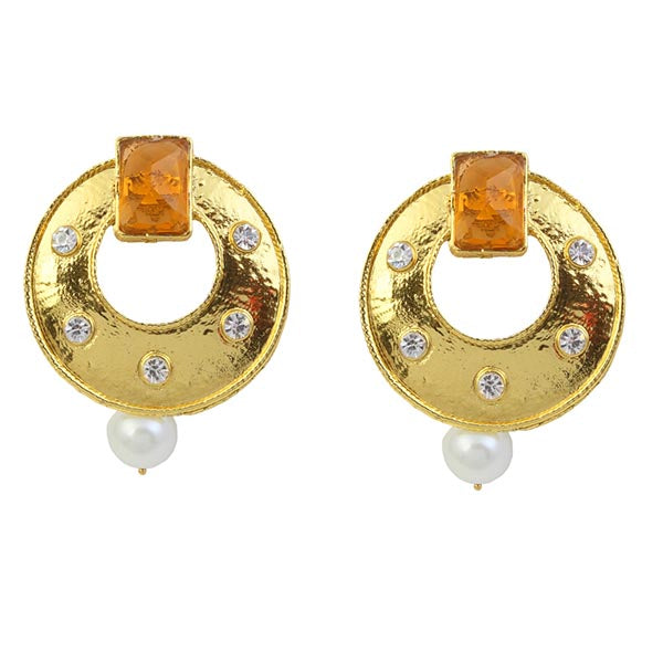Kriaa Yellow Austrian Stone Pearl Dangler Earrings