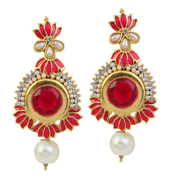 Kriaa Pink Meenakari Gold Plated Stone Dangler Earrings
