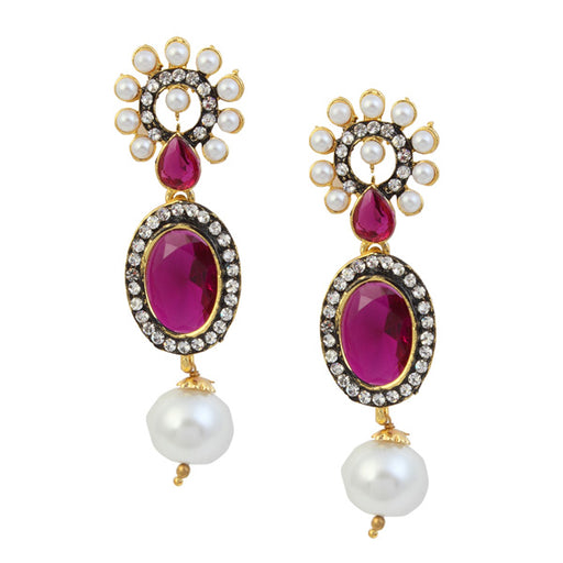 Kriaa Purple Stone Pearl Gold Plated Dangler Earrings