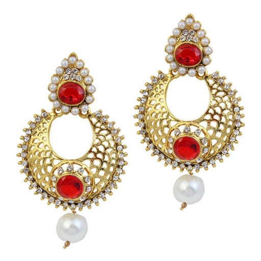 Kriaa Austrian Stone Pearl Drop Gold Plated Chandbali Earrings