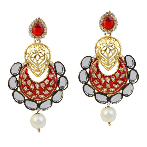 Kriaa Meenakari Gold Plated Kundan Dangler Earrings