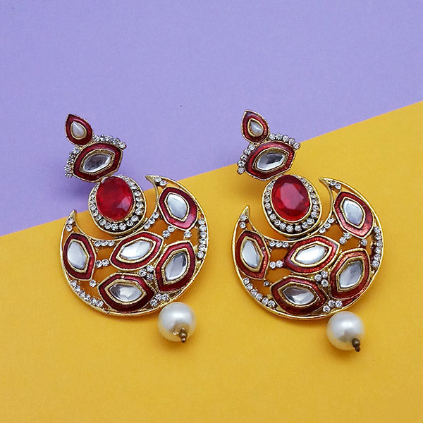 Kriaa Kundan Gold Plated Stone Chandbali Earrings