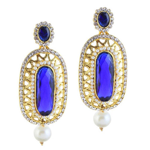 Kriaa Blue Stone Pearl Drop Gold Plated Dangle Earrings