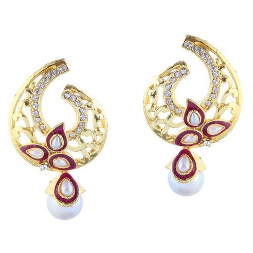 Kriaa Stone Gold Plated Meenakari Dangler Earrings