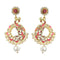 Kriaa Stone Pink Meenakari Gold Plated Dangler Peacock Earrings
