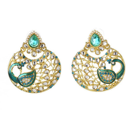 Kriaa Meenakari Gold Plated Stone Peacock Earrings