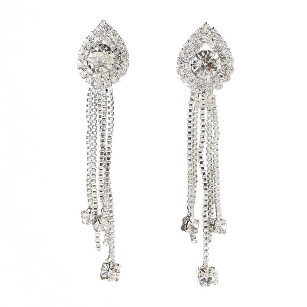 Eugenia Rhodium Plated Austrian Stone Dangle Earrings