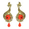Kriaa Orange Austrian Stone Gold Plated Dangler Earrings