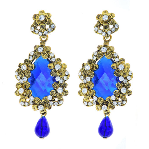 Kriaa Austrian Stone Blue Drop Gold Plated Dangler Earrings