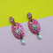 Kriaa Stone Pink Meenakari Drop Gold Plated Dangler Earring