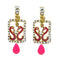 Kriaa Stone Meenakari Gold Plated Dangler Peacock Earrings