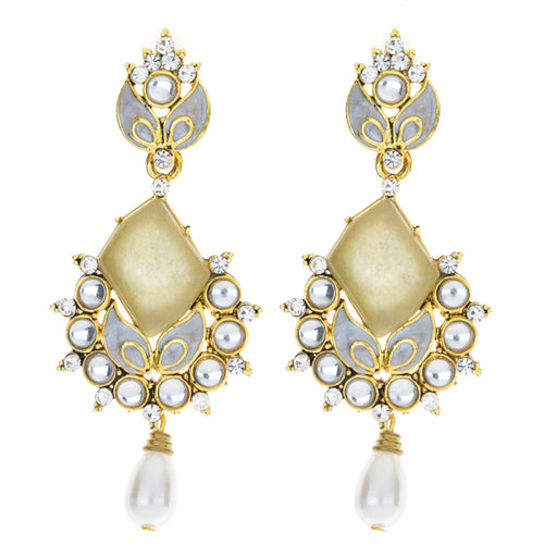 Kriaa Kundan Pearl Drop Gold Plated Dangler Earrings