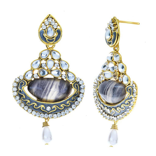 Kriaa Kundan Meenakari Gold Plated Dangler Earrings