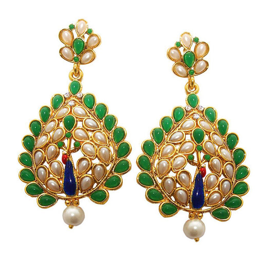 Kriaa Green Pota Stone Gold Plated Peacock Earrings