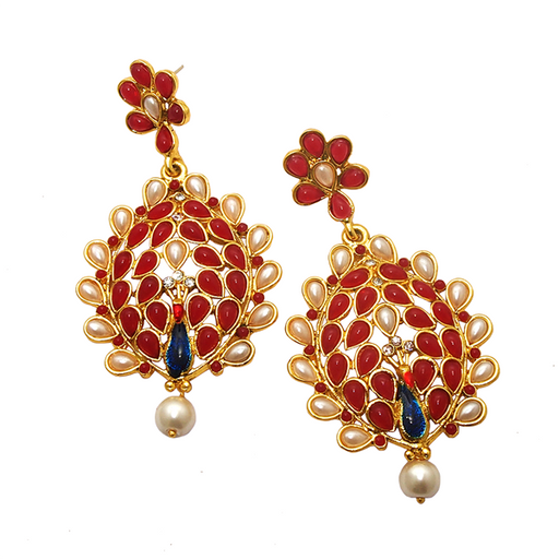 Kriaa Maroon Kundan Gold Plated Peacock Earrings