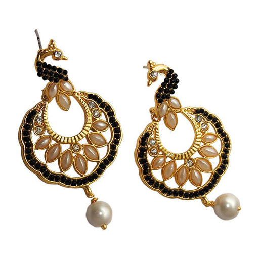 Kriaa Black Stone Gold Plated Dangler Peacock Earrings