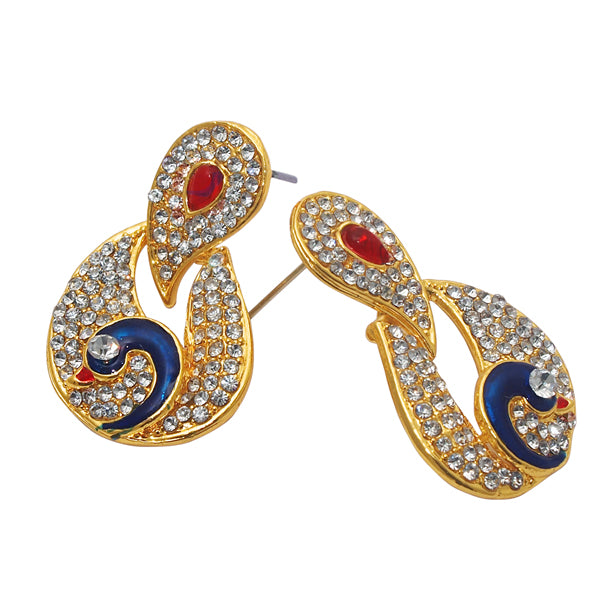 Kriaa Meenakari Stone Gold Plated Peacock Dangler Earrings