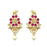 Kriaa Pink Stone Pearl Drop Dangler Earrings