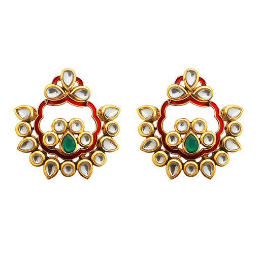 Kriaa Gold Plated Kundan Meenakari Dangler Earrings