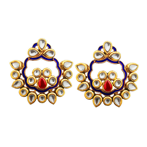 Kriaa Blue Meenakari Kundan Dangler Earrings