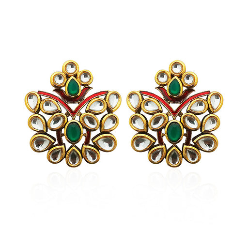 Kriaa Green Stone Kundan Dangler Earrings