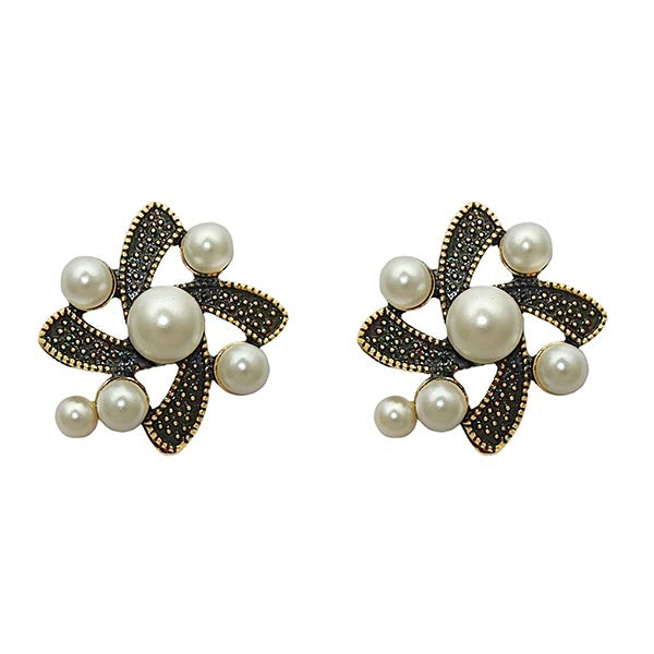 Kriaa Antique Gold Plated  White Pearls Stud Earrings