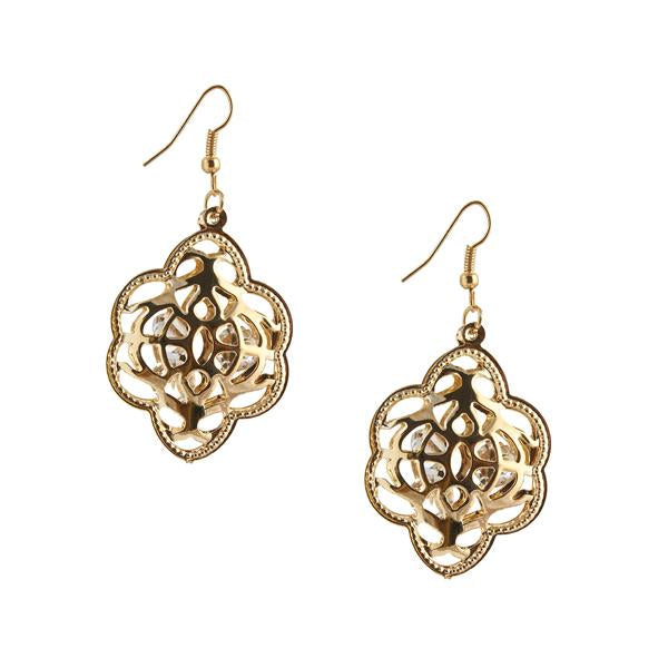 The99Jewel Gold Plated Austrian Stone Dangler Earrings - 1306426 - FS