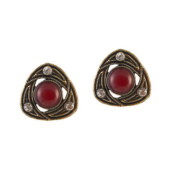 Urbana Red Stone Antique Gold Plated  Stud Earrings
