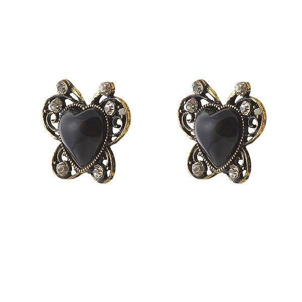 Urbana Black Heart Antique Gold Plated  Stud Earrings