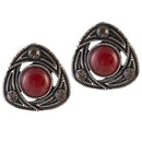 Urbana Red Stone Oxidised Stud Earrings