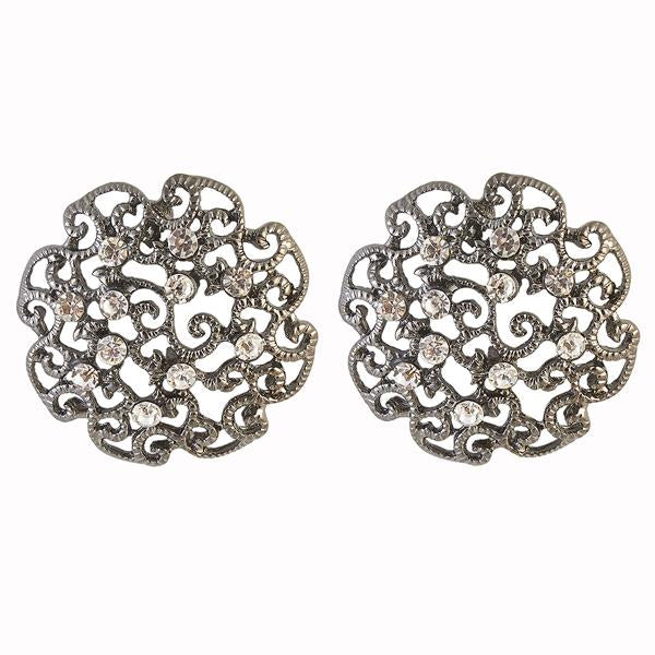 The99Jewel Austrian Stone Rhodium Plated Stud Earrings