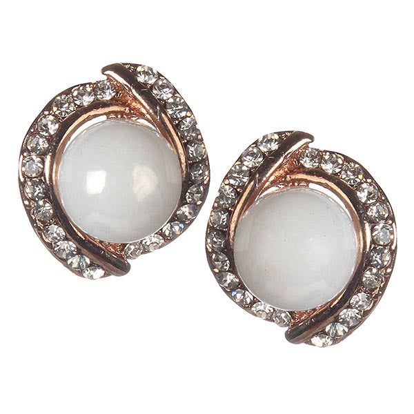 Urbana Glass Pearl Rose Gold Plated  Stud Earrings