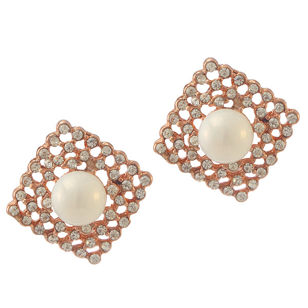 Urbana Glass Pearl Austrian Stone Stud Earrings