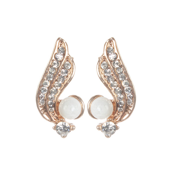 Urbana White Pearl Stone Gold Plated Studs Earrings