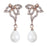 Urbana Glass Pearl Rose Gold Plated  Dangler Earrings
