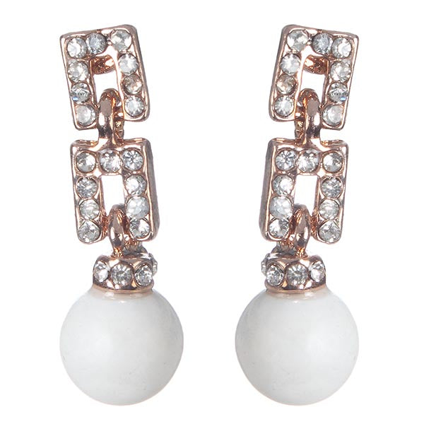 Urbana Glass Pearl Austrian Stone Dangle Earrings
