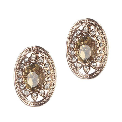 Kriaa Brown Austrian Stone Gold Plated Stud Earrings - 1306905D