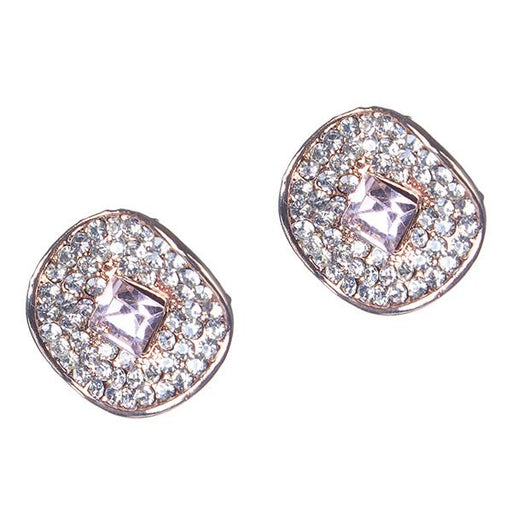 Kriaa Pink And White Austrian Stone Gold Plated Stud Earrings - 1306912A